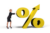 businesswoman pushing  percent