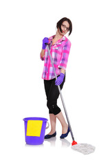 cleaning woman washing floor