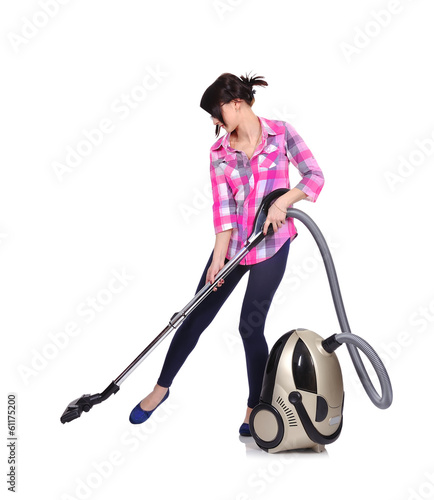 girl engaged in home cleaning