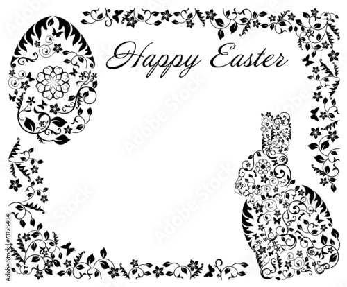 simple black frame with Easter bunny