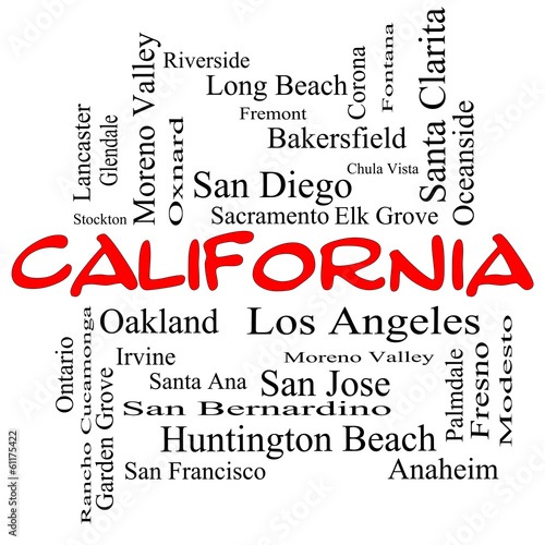 California State Word Cloud Concept in red caps