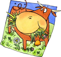 Brown cow on the meadow