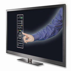 Hand with remote control in television