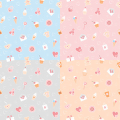 Seamless patterns of romantic items