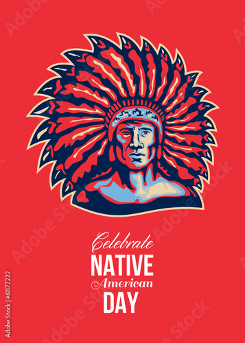 Native American Day Celebration Retro Poster Card
