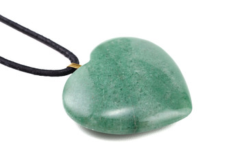 Aventurine heart with leather string