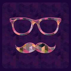 Hipster Icon with Geometric Grunge Background