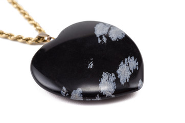 Snowflake obsidian heart with golden chain