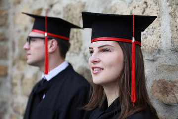 Young Couple in the Graduation Day
