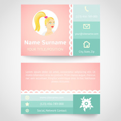 Retro business card (set template) with flat user interface