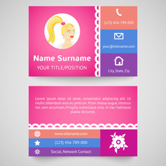 Bright pretty business card (set template)