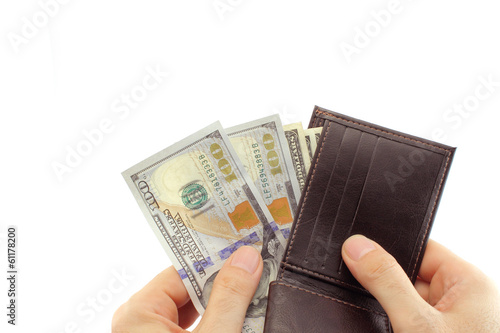 Counting the money from wallet