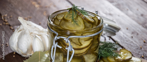 Pickles in a glass