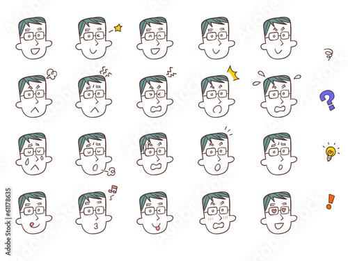 男性の表情20種類