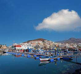 Harbor Los Cristianos resort town in Tenerife, Canary Islands