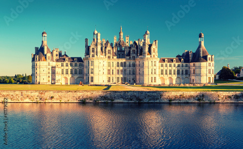 The royal Chateau de Chambord at sunset, France