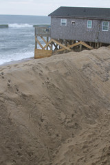 Sand Piled Sea Barrier on Cape Hatteras Beach