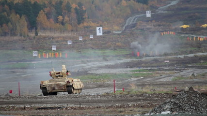 Military exercises at the landfill, tank support combat vehicle