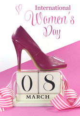International Women's Day vintage calendar and pink shoe.