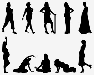 Black silhouettes of pregnant on a gray background, vector