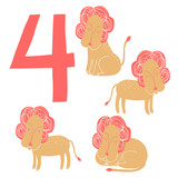 4 cute lions. Easy Learn to count figures.