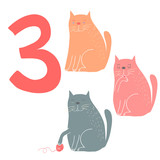 3 cute cats. Easy Learn to count figures.