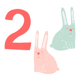 2 cute rabbits. Easy Learn to count figures.