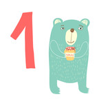 1 cute bear. Easy Learn to count figures.