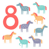 8 cute horses. Easy Learn to count figures.