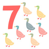 7 cute ducks. Easy Learn to count figures.