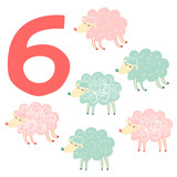 6 cute sheeps. Easy Learn to count figures.