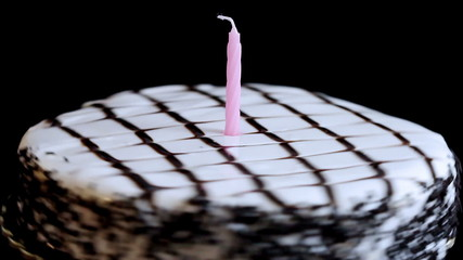 Birthday Cake with Candle, spinning, seamless looping