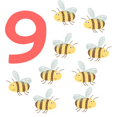 9 cute bees. Easy Learn to count figures.