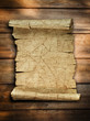 Vintage old paper scroll at wood