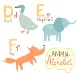 Cute zoo alphabet in vector. D, e, f letters.