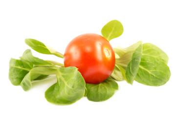 Cherry tomato and arugula leaves