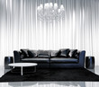 Contemporary minimal vintage chic interior with chandelier