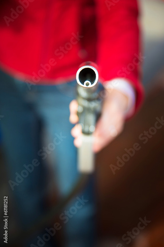 woman with pump nozzle