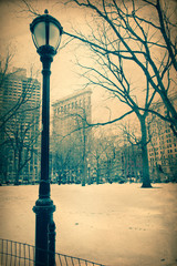 Vintage New York City with Flatiron Building in Winter