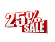 25 percentages sale in 3d letters and block