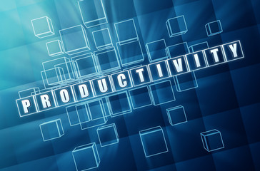 productivity in blue glass cubes