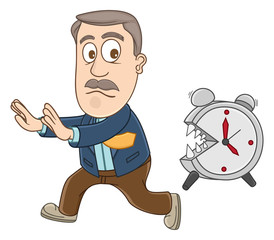 Businessman chased by alarm clock