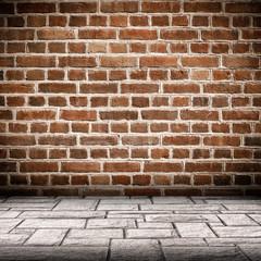 Red brick wall and brick floor interior