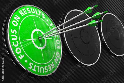 Focus on Results Slogan - Green Target.