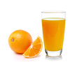 canvas print picture - Fresh orange and glass with juice