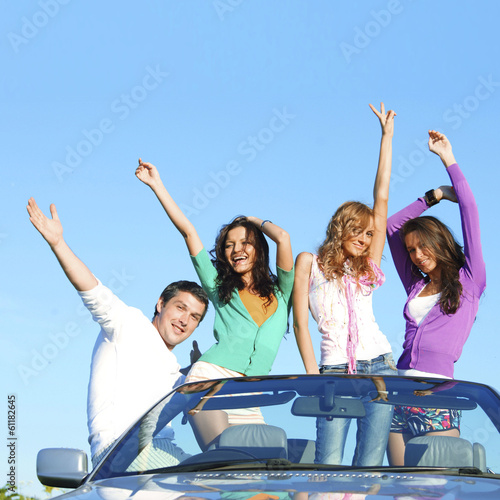 Friends in dance car