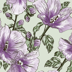 seamless pattern with Hibiscus flowers