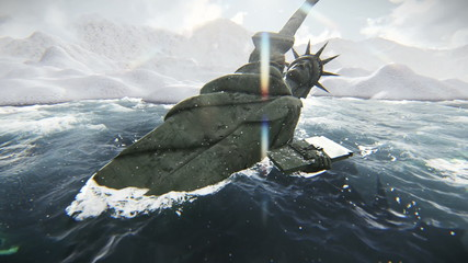 Scene Statue of Liberty toppled after a disaster or apocalypse