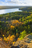 Fall forest and lake top view