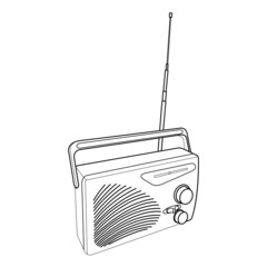radio and transistors outline vector
